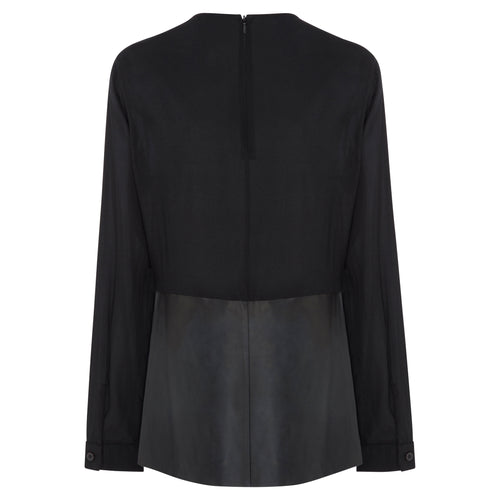 Richmond Silk  & Leather Peplum Top - Jet Black