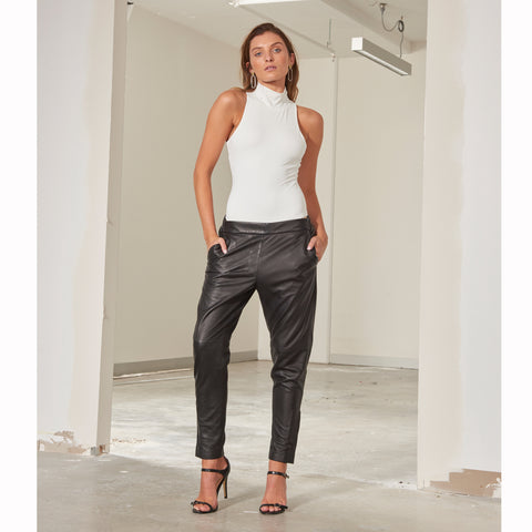 Frankie Leather Jogger Pant - Slate
