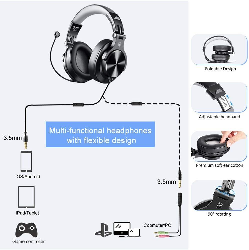 A71D Gaming Headphones with Microphone(Grey) - OneOdio
