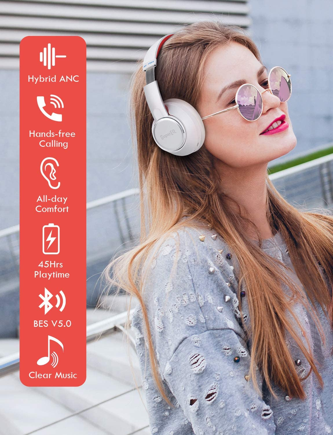 SuperEQ® S1 Hybrid ANC Headphones with Ambient Mode