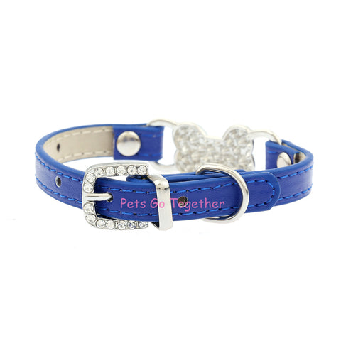 Leather Luxury Diamante Small Dog Collar
