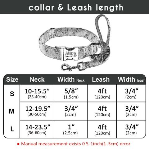 Personalized Black & White Dog Collar & Leash