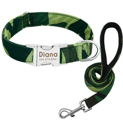 Personalized Green Cameo Dog Collar & Leash