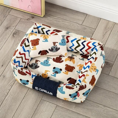 Puppy Print Oxford Pet Bed