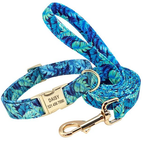 Personalized Blue Floral Dog Collar & Leash
