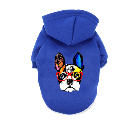 Blue Frenchie Hoodie Sweater