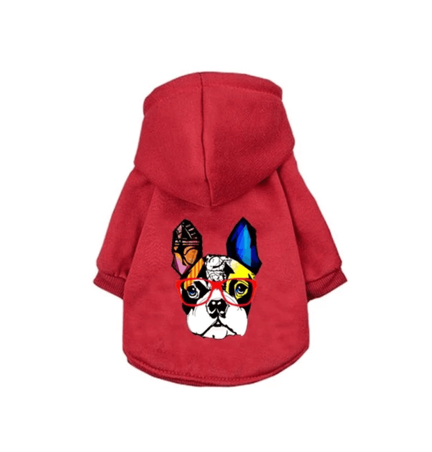 Red Frenchie Hoodie Sweater
