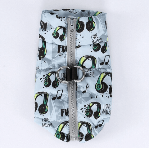 Music Lover Puffer Dog Vest