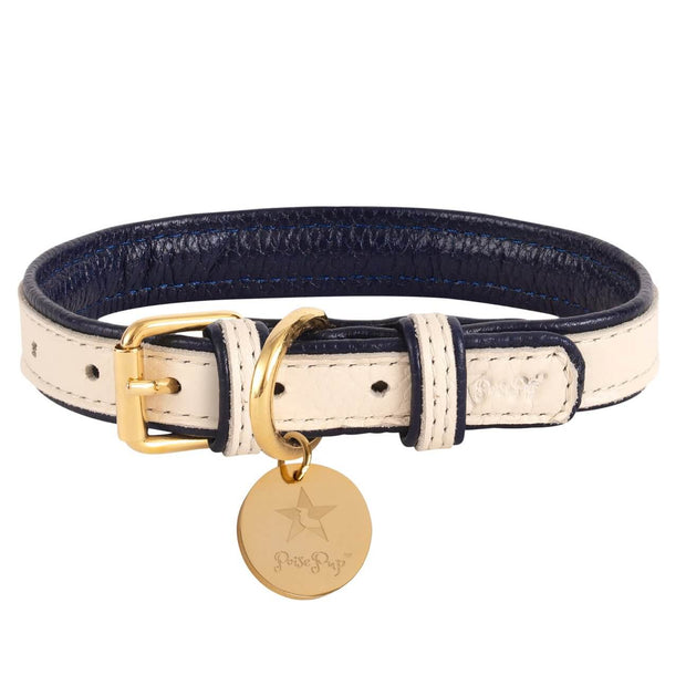 Hot Marine- Italian Leather Dog Collar