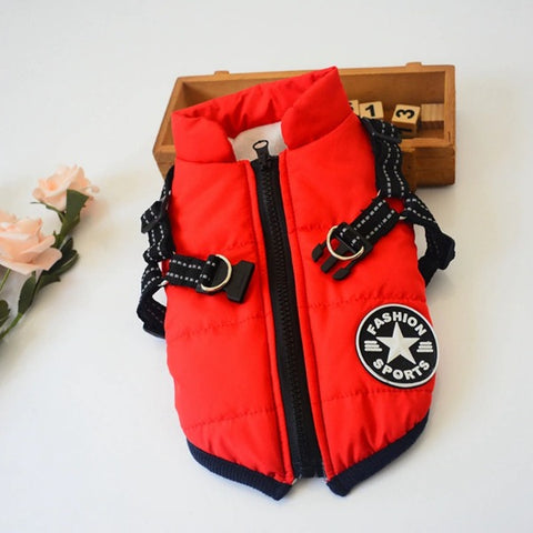 Red Puffer Harness Jacket
