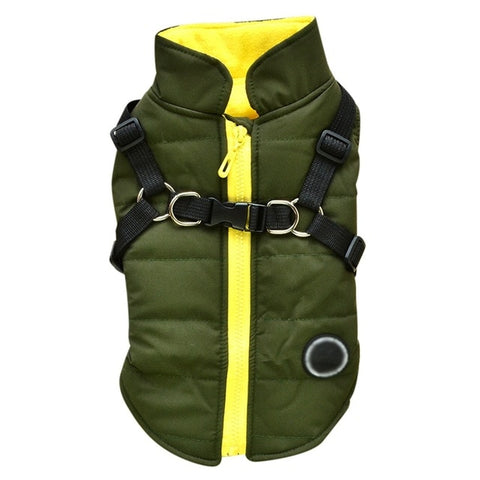 Green Forest Puffer Harness Jacket