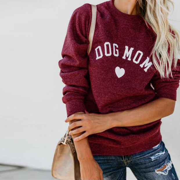 Dog Mom Print Pullover Long Sleeve Sweater