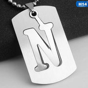 Alphabet Necklace Military Army Dog Tags