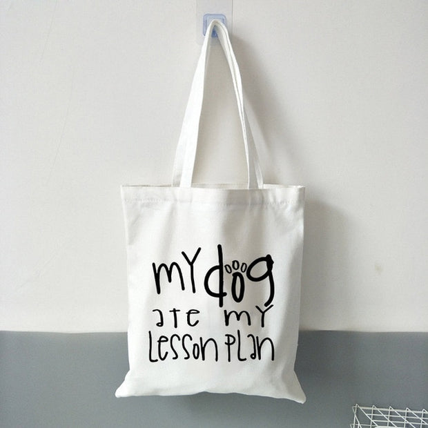Teacher & Dog Mom Canvas Shoulder Tote Bag