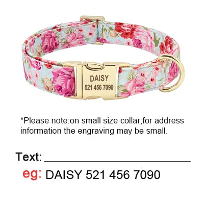 Personalized Pink Floral Dog Collar & Leash