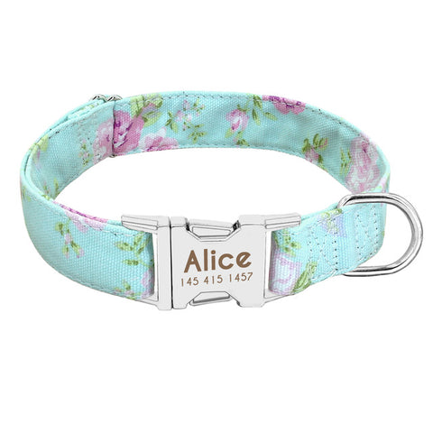 Personalized Teal Rose Dog Collar & Leash