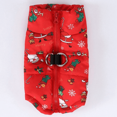 Red Jingle Puffer Dog Vest