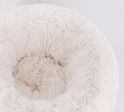 Luxury White Plush Mini Donut Pet Bed