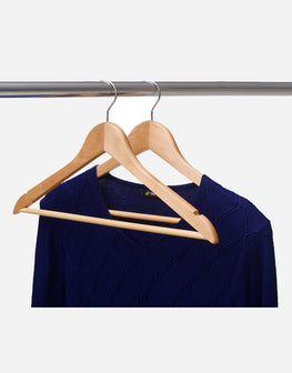 Natural Finish Wood Hangers for Clothes 10pcs/Pack