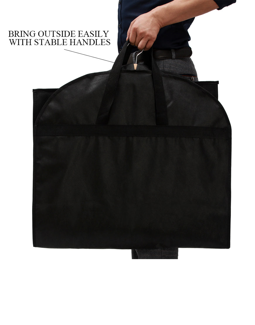 57676aea6926 43 Inch Black Breathable Garment Bag with 3 Zipper Pockets