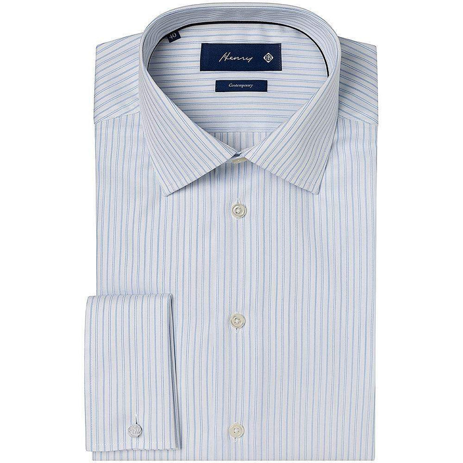 Henry Bucks-Henry Pin Stripe Tailored Fit DC Cotton Shirt-Henry Bucks