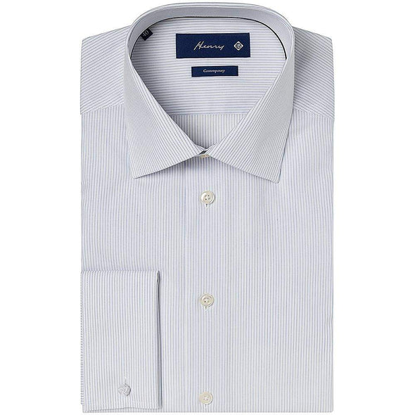 Henry Bucks-Henry Hairline Stripe Tailored Fit DC Cotton Shirt-Henry Bucks