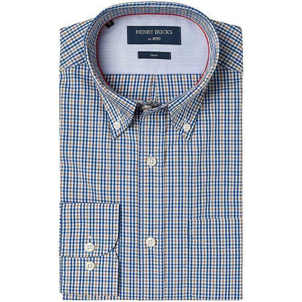 Henry Bucks-HB 1890 Check Single Cuff Cotton Shirt-Henry Bucks