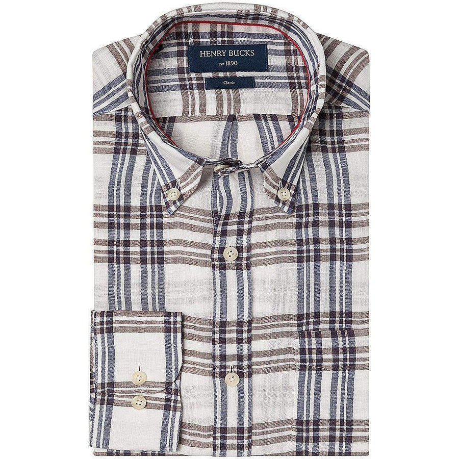 Henry Bucks-HB 1890 Large Check Single Cuff Linen Shirt-Henry Bucks