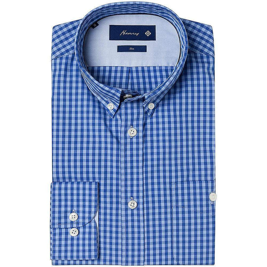 Henry Bucks-Henry Blue Gingham Button-Down Shirt-Henry Bucks