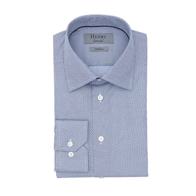 HENRY SARTORIAL CROSS PRINT SHIRT