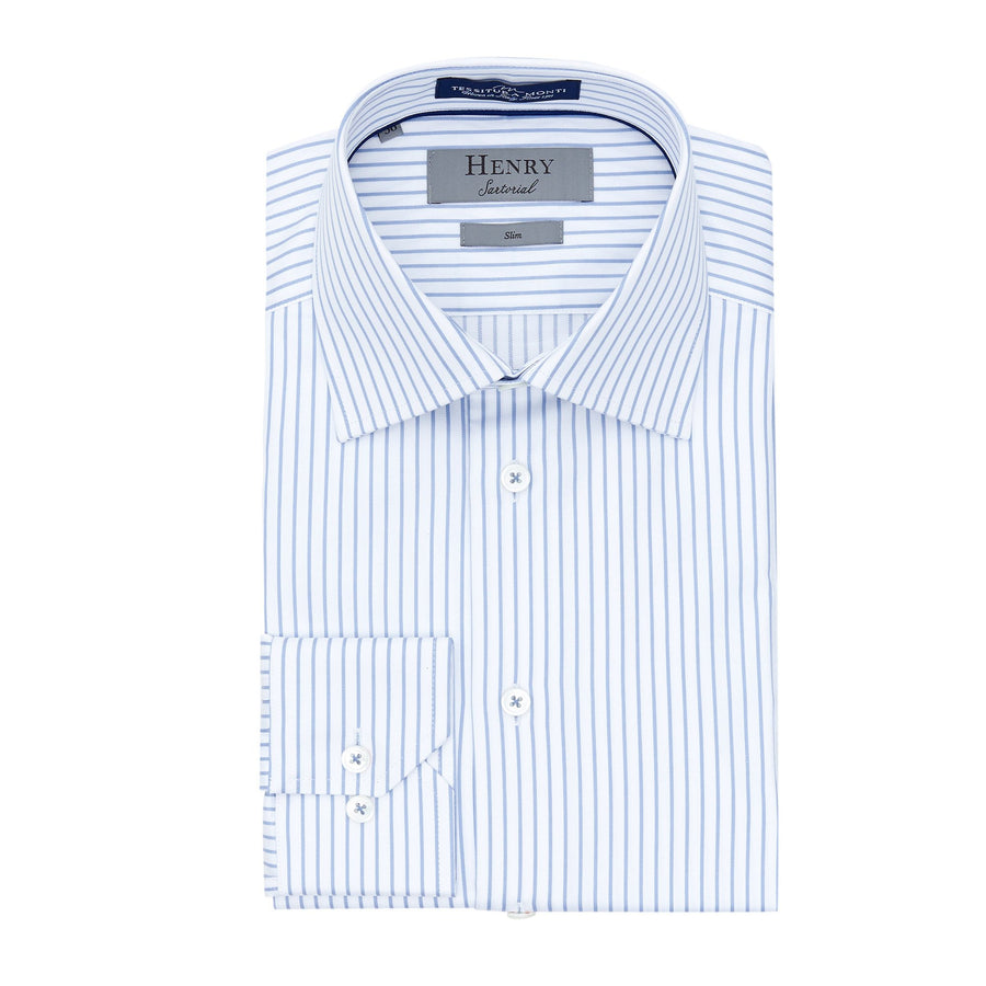 HENRY SARTORIAL OPEN STRIPE SHIRT