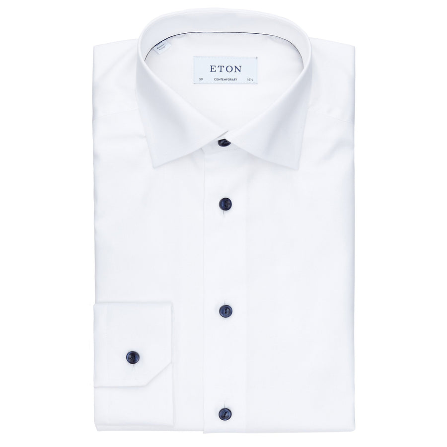 ETON TWILL SHIRT WITH CONTRAST BUTTONS