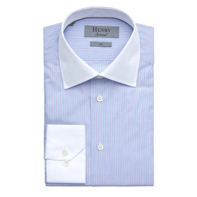 HENRY SARTORIAL BLUE STRIPE SHIRT