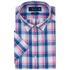 HENRY BLUE & PINK PLAID SHORT SLEEVE SHIRT