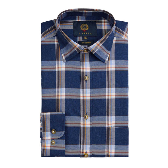 VIYELLA GROUND PLAID SHIRT NAVY MARL