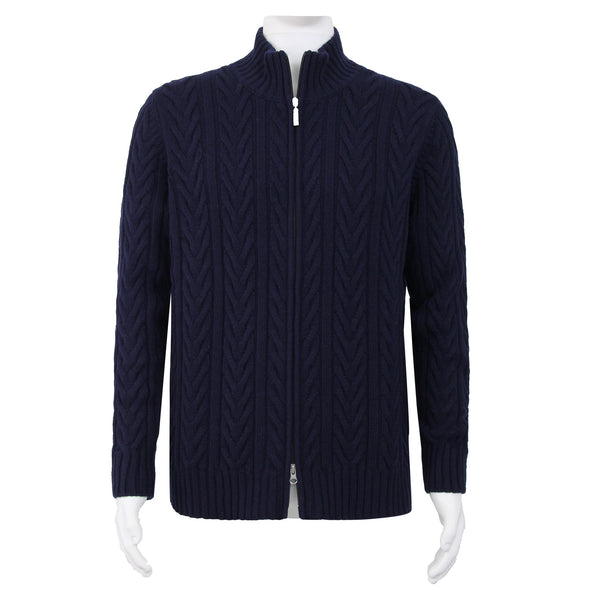 GRAN SASSO CABLE KNIT JACKET NAVY