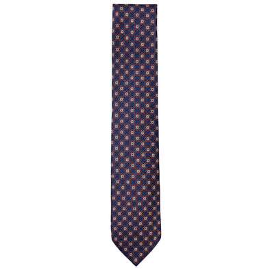 CANALI FINE EMBROIDERED FLORAL GEO TIE - NAVY/RUST