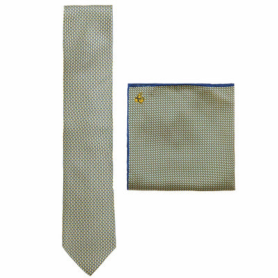 CANALI GEOMETRIC POCKET SQUARE & TIE SET