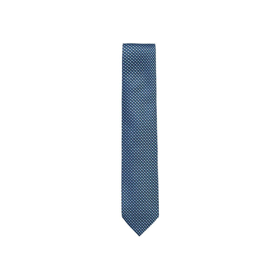 ERMENEGILDO ZEGNA PATTERNED SILK TIE - BLUE