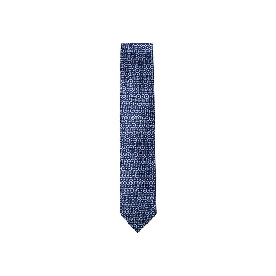 ERMENEGILDO ZEGNA GEOMETRIC PATTERNED SILK TIE