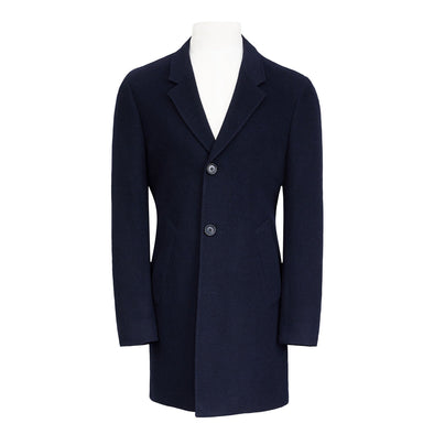 HENRY SARTORIAL SINGLE BREASTED WOOL COAT- NAVY