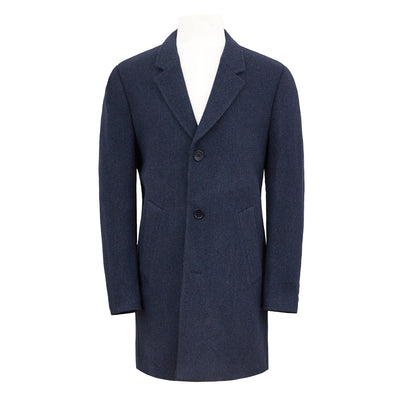 HENRY SARTORIAL SINGLE BREASTED WOOL COAT- BLUE
