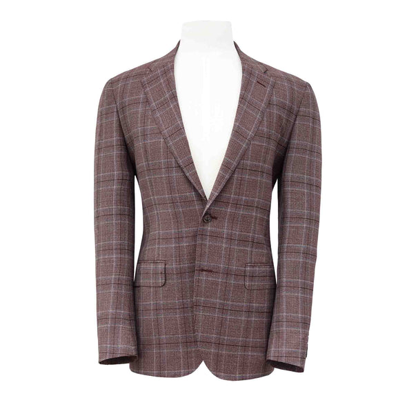 HENRY SARTORIAL PRINCE OF WALES BLAZER - BORDEAUX