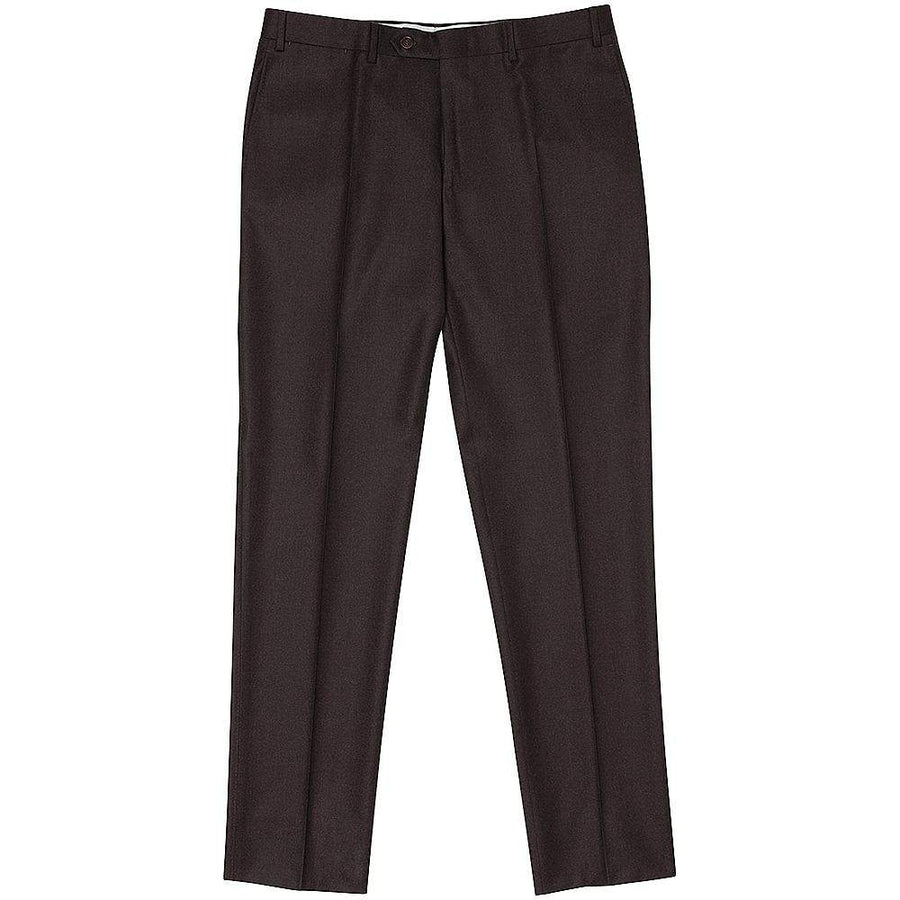 Canali Wool Flannel Flat Front Trousers
