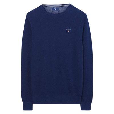 GANT-Gant Pique Crew Neck Cotton Sweater-Henry Bucks