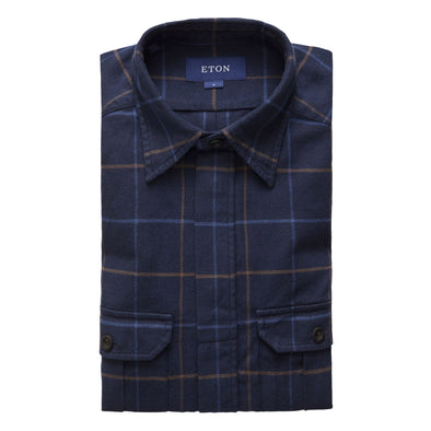 ETON NAVY CHECK OVERSHIRT