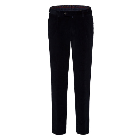 BRAX LUIS PLEAT CORD TROUSER - NAVY