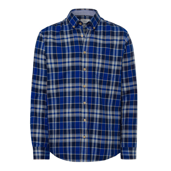 BRAX LIGHT FLANNEL CHECK SHIRT - BLUE