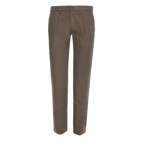 CANALI PLEATED COTTON TWILL CHINO