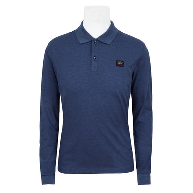 Paul & Shark BLUE KNITTED POLO SHIRT